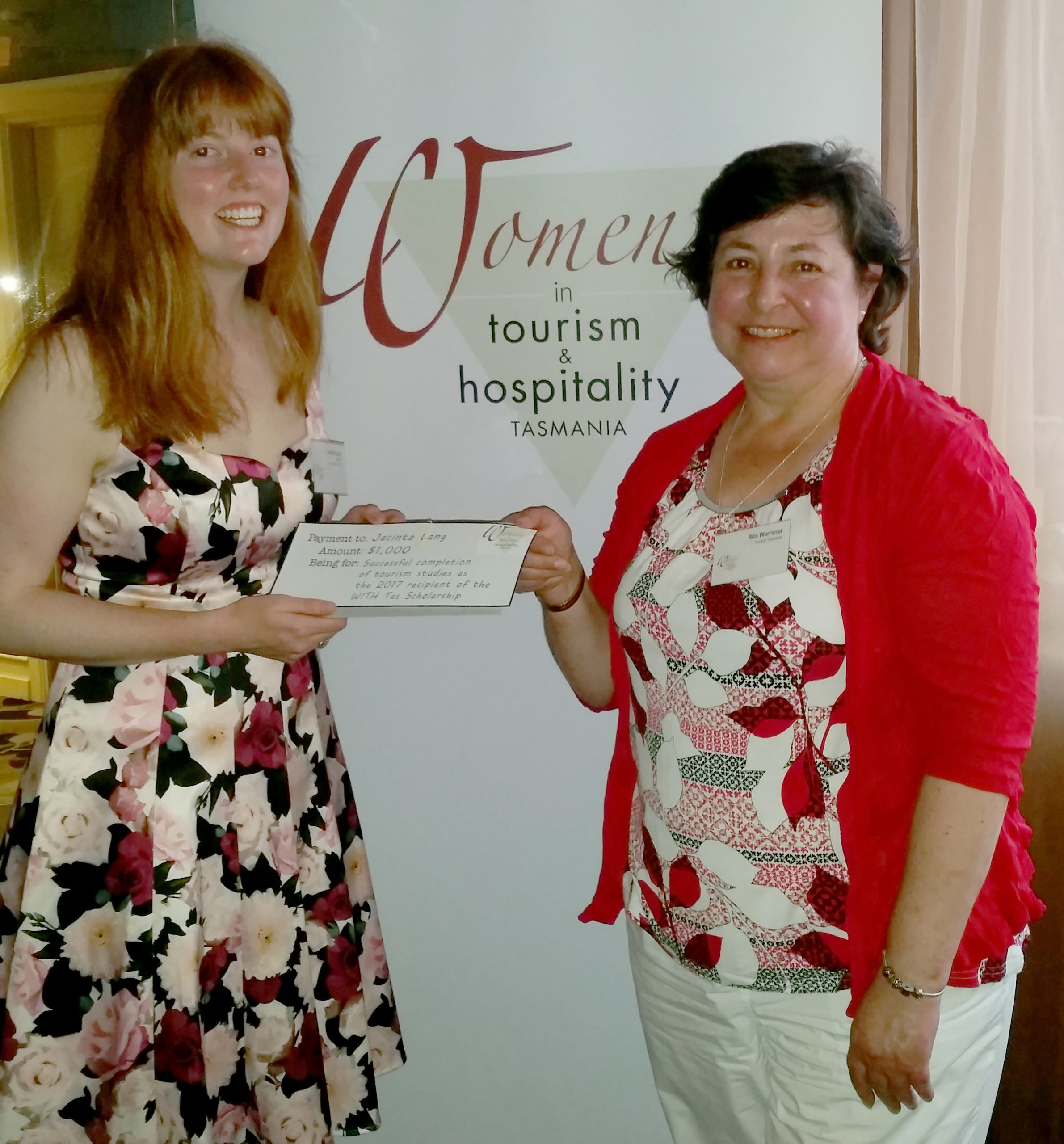 Jacinta Long 2018 scholarship winner and Rita Warrener