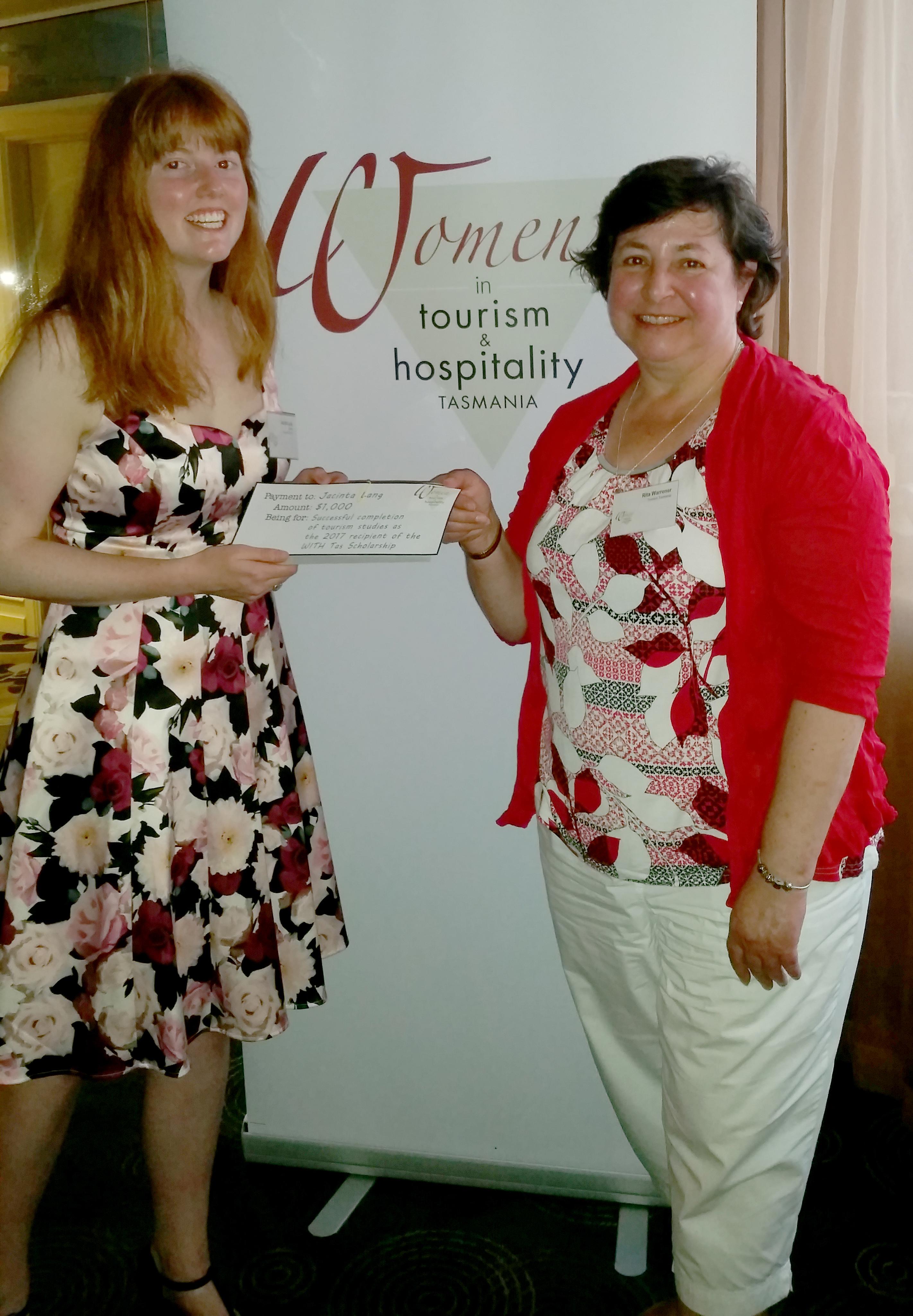 2018 Scholarship recipient Jacinta Long and Rita Warrener of WITH Tas